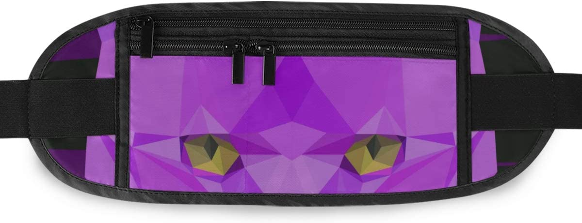 Abstract Geometric Angry Cat Portrait Graphic Running Lumbar Pack For Travel Outdoor Sports Wa Travel Waist Pack,travel Pocket With Adjustable Belt