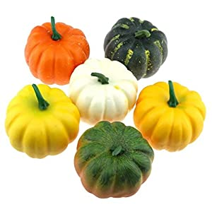 Gresorth 3.5 inches Artificial Pumpkins Fake Halloween Harvest Decoration Pumpkin - Pack of 6 9