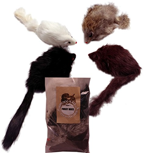 HDP Long haired Furry Mice cat toy Size:Pack of 4