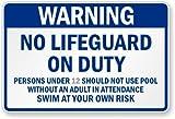 Warning No Lifeguard on Duty Custom California Pool Sign, 36'' x 24''
