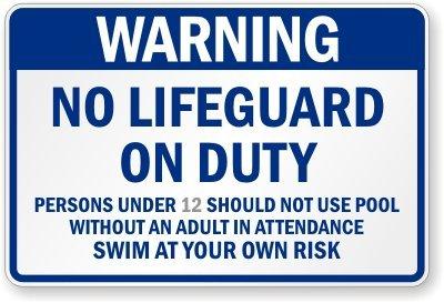 Warning No Lifeguard on Duty Custom California Pool Sign, 36'' x 24'' by SwimmingPoolSigns