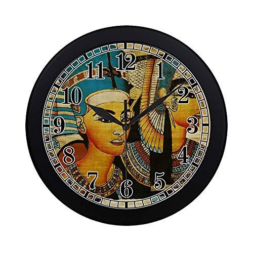 InterestPrint Ancient Egyptian Parchment Modern Quartz Wall Clock Silent Non Ticking Decorative Indoor Kitchen Living Room Round Retro Clock, Black