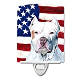 Caroline's Treasures USA American Flag with Pit Bull Night Light, 6'' x 4'', Multicolor