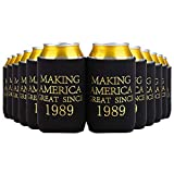 Crisky 30th Birthday Beer Sleeve, 30th Birthday Can Cooler Insulated Covers, 30th Birthday Decorations Black Gold Making America Great Since 1989, Neoprene Coolers for Soda, Beer, Can Beverage, 12 Pcs