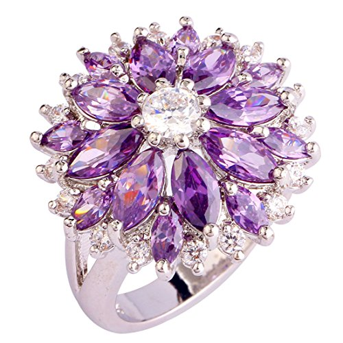 Psiroy Women's 925 Sterling Silver Created Amethyst Filled Flower Shaped Statement Ring Size 8