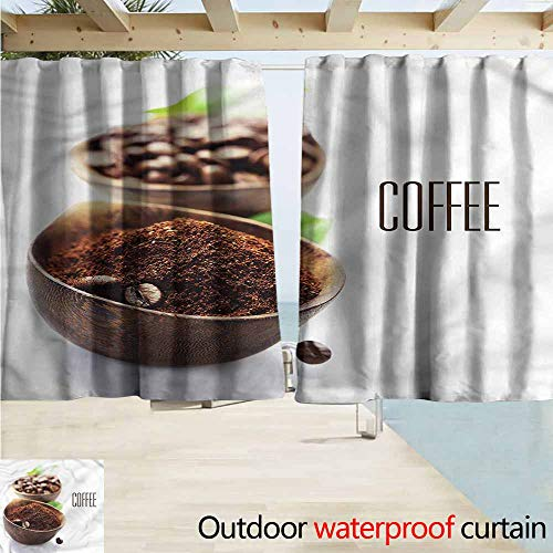 MaryMunger Blackout Curtain Coffee Ground Coffe Wooden Bowl Blackout Draperies for Bedroom W72x63L Inches