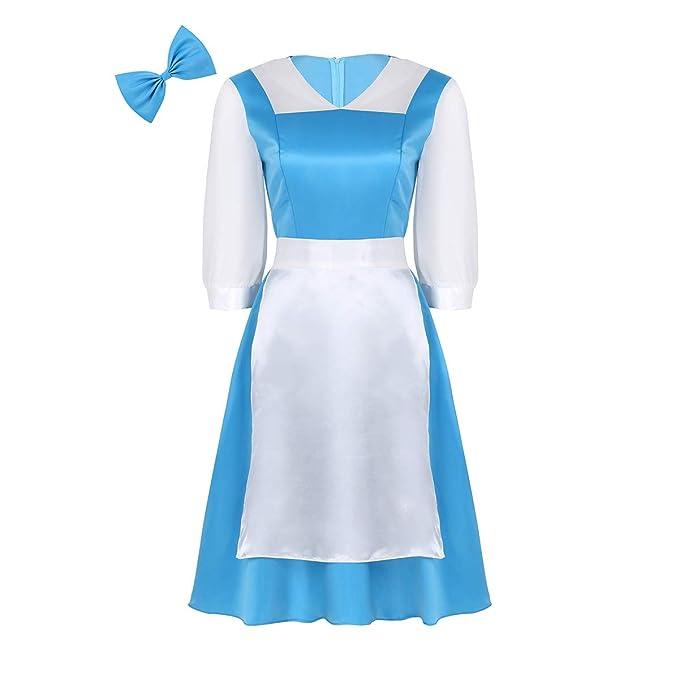 MSemis Disfraz Princesa Bella Mujer Vestido Princesa Azul Adulto ...