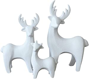 LIOOBO 3 Pcs Standing Christmas Figurine Deer Ceramic Deer Decor Holiday Reindeer Figures Xmas Holiday Home Decor