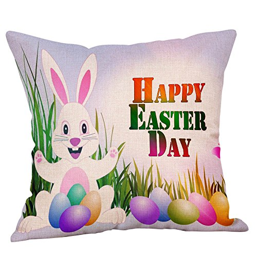 WUDUBE Pillow Cases Easter Happy Holiday Throw Modern Fashion Cushion Cover Square Home Garden Sofa Car Bedroom Rabbit Bunny Doll Party Accessory Linen Decor