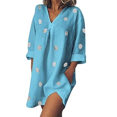 b7044245740 Women Dresses Holiday Boho Dot Print Dresses Ladies Summer Pomisi Loose  Beach Party Dress New Look Elegant Dresses Casual Plus Size Dresses Dressing  Gown ...