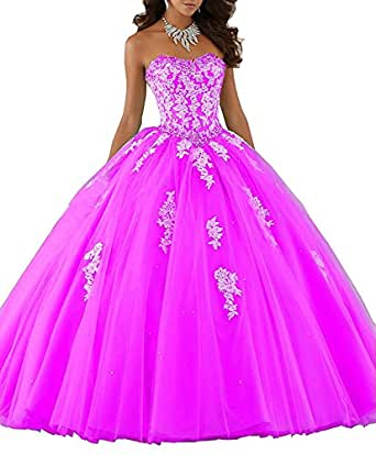 Victoria Prom Beaded Lace Prom Dresses Long Ball Gown Quinceanera Dresses Hot Pink us22w