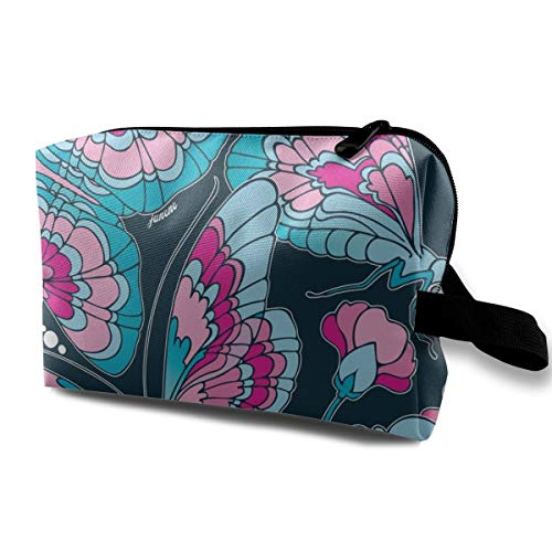 - Art Nouveau Butterfly Navy_858 Toiletry Bag Cosmetic Bag Portable Makeup Pouch Travel Hanging Organizer Bag For Women girl 10x5x6.2 inch