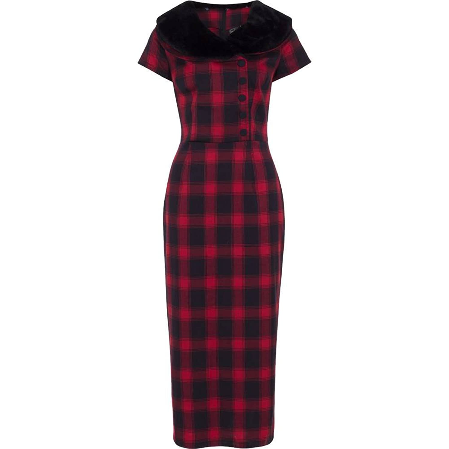 Pin Up Dresses | Pinup Clothing & Fashion Voodoo Vixen Joan Plaid Wiggle Dress Red $76.99 AT vintagedancer.com