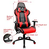 Homall Executive Swivel Leather Gaming Chair, Racing Style High Back Chair with Lumbar Support and Headrest