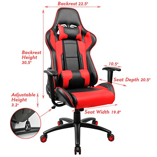 Homall Executive Swivel Leather Gaming Chair, Racing Style High Back Office  Chair With Lumbar Support And Headrest