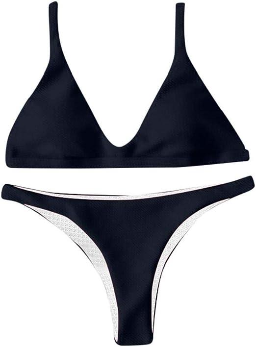 Womens Crisscross Bandage Swimsuit Two Piece Solid Bikini Set Swimwear Cutout Padded Bathing Suit