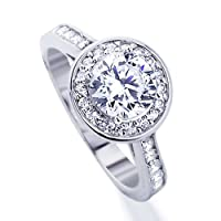 Platinum Plated Sterling Silver Wedding & Engagement Ring Halo Design, Round Cut 1.3Carat Cubic Zirconia ( Size 5 to 7) from Double Accent
