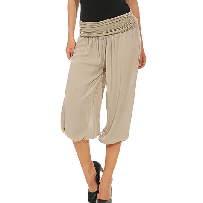 LEVIFUN Señoras 3/4 Bombachos Estilo Capri Pantalones harén Pantalones Cortos de Verano de Yoga hasta la Rodilla Aladin un tamaño