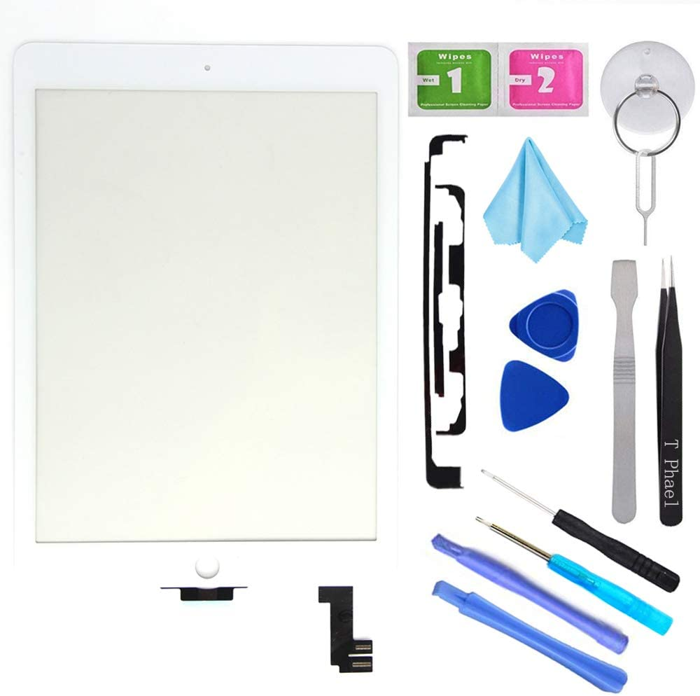 """T Phael White New Digitizer Repair Kit for iPad Air 2 9.7"""" 2nd Gen A1566 A1567 Touch Screen Digitizer Replacement(Without Home Button,Not Include LCD,ONLY Sell for Pro Repair Shop !!!)."""