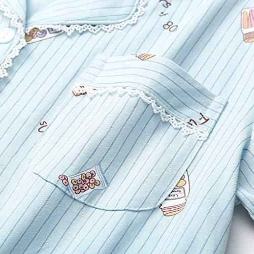 Boxershort Dormir Corta Hellblau Casual Manga Juegos Laterales Elastische Verano Taille Ropa Patrón De Pijamas Estampadas Bastante 2 Solapa Mujer Bolsillos WUxqffa