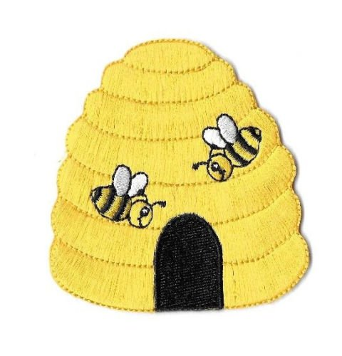 Bee Embroidered Bumble (Beehive - Bumblebee - Bumble Bee - Honey - Embroidered Iron On Applique Patch)
