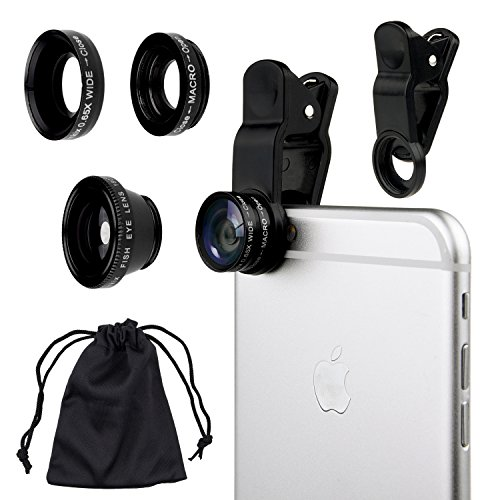 Camkix Universal 3 in 1 Cell Phone Camera Lens Kit - Fish Eye Lens / 2 in 1 Macro Lens & Wide Angle Lens / Universal Clip (Black)