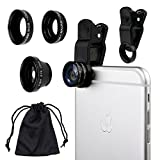 Universal 3 in 1 Camera Lens Kit for Smart phones (iphone, Galaxy, HTC, Motorola) by Camkix®, Ipad, Ipod touch, Laptops / One Fish Eye Lens / One 2 in 1 Macro Lens and Wide Angle Lens / One Universal Clip / One Microfiber Carrying Bag / One Microfiber Cleaning Cloth included (Black)