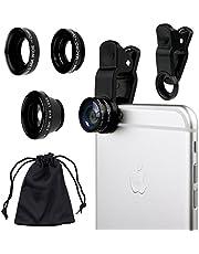 Camkix Universal 3 in 1 Cell Phone Camera Lens Kit - Fish Eye Lens / 2 in 1 Macro Lens & Wide Angle Lens/Universal Clip (Black)
