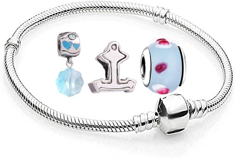 AKKi Jewelry Charms - 1 pulsera y 3 colgantes en turquesa de color plateado, set de iniciación, acero inoxidable con circonitas, cristal de Murano para pulsera de abalorios