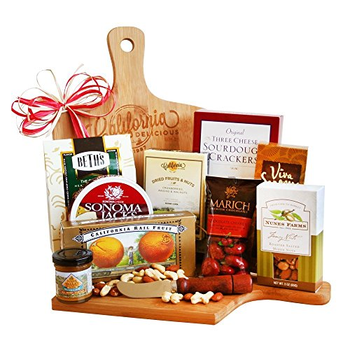 Wood Cutting Board Gift Set with Cheese, Crackers, Nuts, Cookies and More (Cookie Hampers)