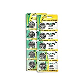 CR2032 3V Micro Lithium Coin Lithium Cell Battery 2032. Genuine KEYKO ® - 10 pcs Pack (2 Blisters)