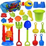 FUN LITTLE TOYS 19 PCs Kids Beach Sand Toys Set with Sand Water Wheel, Beach Molds, Beach Bucket and Beach Shovel Tool Kit, Sandbox Toys for Toddlers