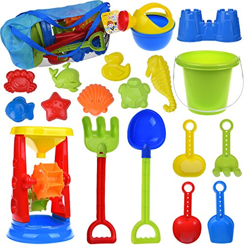 - 19 PCs Kids Beach Sand Toys Set Sand Water Wheel, Beach Molds, Beach Bucket Beach Shovel Tool Kit, Sandbox Toys for Toddlers, Kids Outdoor Toys