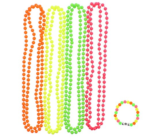 Zac's Alter Ego Zac's Set Of 4 Fluorescent Neon Plastic Colour Bead Necklaces With Neon Bracelet