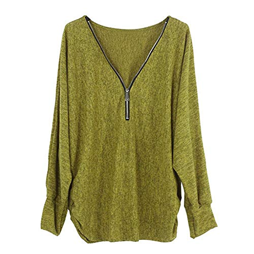 iDWZA Fashion Womens Autumn Winter Long Sleeve Pullover Top Shirt Zipper Blouse(Yellow,US M/CN L) ()