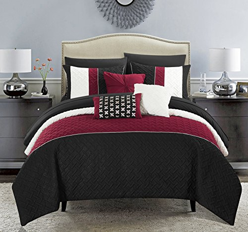 Chic Home Osnat 10 Piece Comforter Set Color Block Quilted Embroidered Design Bed in a Bag Bedding - Sheets Decorative Pillows Shams Included King Black