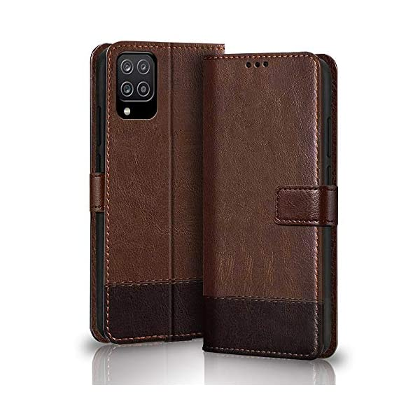 TheGiftKart Flip Case Back Cover for Samsung Galaxy M12 / F12 / A12 (Dual Color | Faux Leather | Brown & Coffee) 2021 July STYLISH LEATHER LOOK: Premium Dual-Color Leather Styling with use of High Quality Material Gives it a Rich & Stylish Look. INBUILT STAND: The Inbuilt Stand Provides you a Handsfree Experience while watching any Movie or Video Content. POCKETS INSIDE: There are Pockets built inside which allows you to keep Cards / Cash / Docs in this Wallet Case.