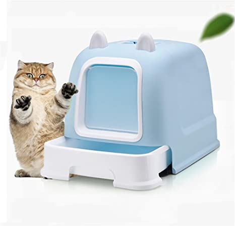 DAN Caja de arena para gatos con capucha portátil , blue