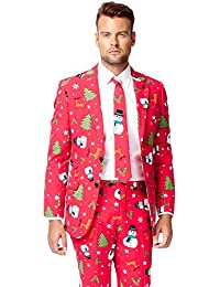Men's Christmaster Party Costume Suit, Red/White/Green, 40