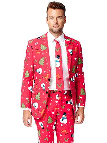 (OppoSuits Men's Christmaster Party Costume Suit, Red/White/Green,)