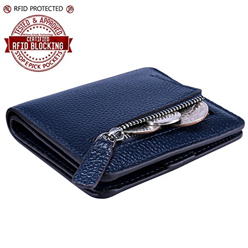 Itslife Women's Rfid Blocking Small Compact Bifold Leather Pocket Wallet Ladies Mini Purse with id Window (Lichee Blue) Image