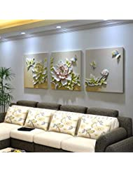 XQY Triple Relief Embossed Painting, Embossed Wall Decoration - Living Room Frameless Embossed Decorative Painting, Triple Stereo Embossed Painting, Sofa Background Wall Painting