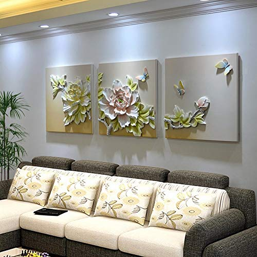 XQY Triple Relief Embossed Painting, Embossed Wall Decoration - Living Room Frameless Embossed Decorative Painting, Triple Stereo Embossed Painting, Sofa Background Wall Painting,B,7070cm