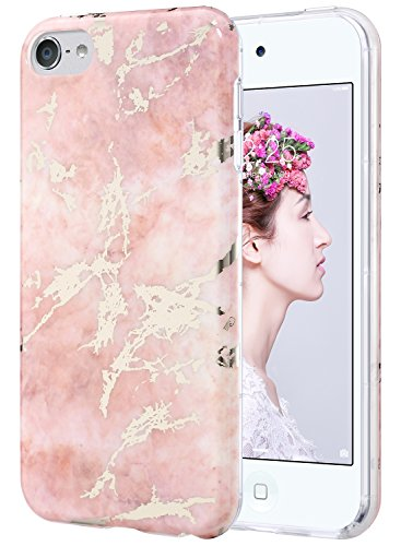 iPod Touch 6 Case,iPod 6 Case,ULAK iPod Touch 6 Marble CLEAR Case SLIM Anti-Scratch Flexible Soft TPU Bumper PC Back Hybrid Shockproof Protective Case for Apple iPod Touch 5/6th-Marble (Large Ipod Case)