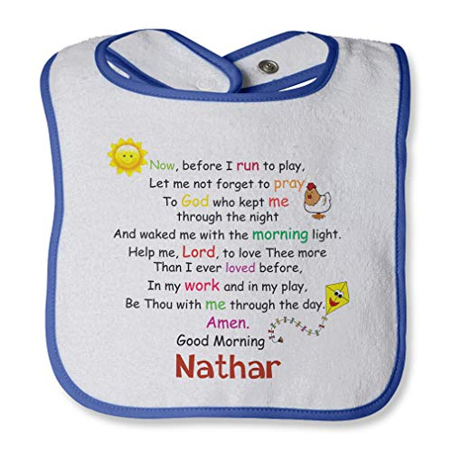 Personalized Custom Morning Prayer Now, before I run to play Cotton Boys-Girls Baby Terry Bib Contrast Trim - White Royal Blue, One -