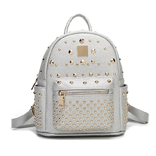 bags small bag bag Leather Genuine ZY silver backpack Lady backpack travel Cowhide Cosmetic Ms amp;F student EOq6BU