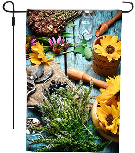 Rikki Knight Fall Flowers Table Design Garden Flag Sturdy Bl