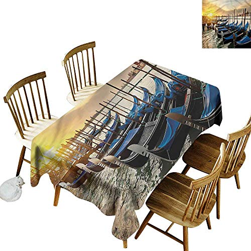 (Tim1Beve Custom Tablecloth Venice Gondolas Line on Water Table Cover for Dining 52