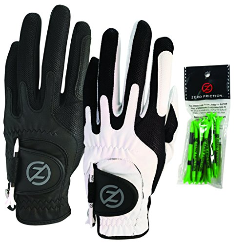 Zero Friction Male Mens Compression-Fit Synthetic Golf Glove (2 Pack), Universal Fit Black/White, One Size