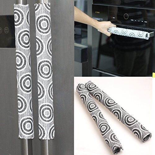 Ougar8 Handmade Refrigerator Dust Door Handle Cover-Catches Drips,Dust,Smudges and Fingerprints Leaving for Fridge Microwave Oven Handle Covers Home Kitchen Appliance Decoration(1 Pair) (Circle) (Cover Door Refrigerator)